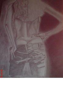 Bleistiftzeichnung, Frau, Erotik, Zeichnung