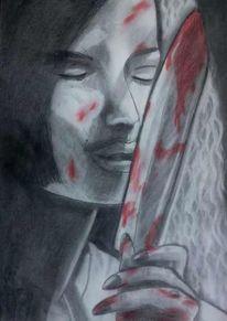 Buch, Zeichnung, Messer, Menschen