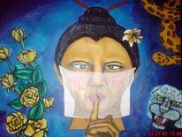 Schlange, Blumen, Frau, Asiate