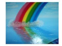 Landschaft, Regenbogen farben, Meer, Bunt