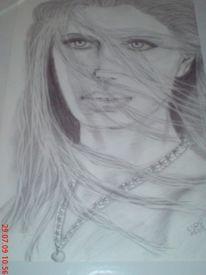 Bleistiftzeichnung, Menschen, Frau, Portrait