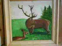 Tiere, Wald, Wiese, Hirsch