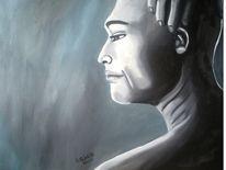 Sänger, Schwarz weiß, Ölmalerei, Portrait