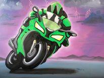 Motorrad, Blitzen, Menschen, Kawasaki