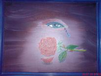 Augen, Blumen, Rose, Tränen
