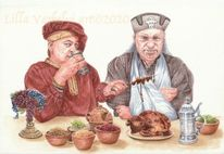 Illustration, Tuschmalerei, Märcehnbuch, Fütterung