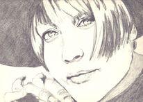 Augen, Bleistiftzeichnung, Frau, Menschen