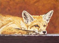 Tierportrait, Fuchs, Harzölmalerei, Malerei