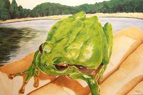 Tierportrait, Tiere, Laubfrosch, Ölmalerei tiermalerei