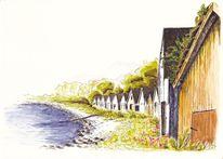 Tuschezeichnung, Landschaft, Bootshaus, Norwegen