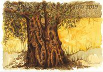 Zeichung, Baum, Tuschmalerei, Baumstudie