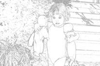 Kind, Puppe, Schwarzweiß, Digitale kunst