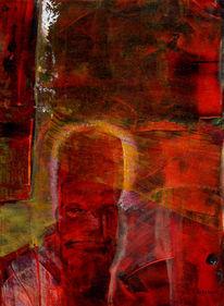 Struktur, Schicht, Rot, Mischtechnik