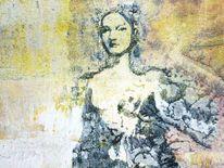 Mixed, Struktur, Frau, Figural