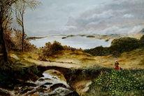 Berge, Herbst, Ölmalerei, Nebel