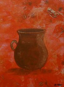 Vase, Gefäß, Orange, Malerei