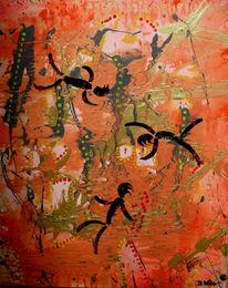 Männchen, Kreis, Abstrakt, Malerei