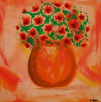 Blumen, Mohn, Vase, Malerei