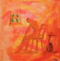 Mann, Fenster, Orange, Kaffee