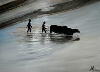 Indien, Fluss, Wasserbüffel, Malerei