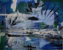 Hellblau, Schwarz weiß, Abstrakt, Meer