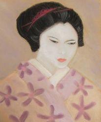 Rosa, Blick, Asien, Geisha