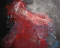 Abstrakt, Merletto, Acrylmalerei, Grau