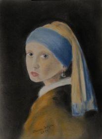 Pastellmalerei, Vermeer, Holländisch, Frau