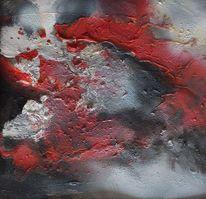 Pigmente, Mischtechnik, Rot schwarz, Weiß
