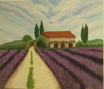 Natur, Acrylmalerei, Lavendel, Provence