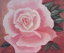 Rosé, Rose, Acrylmalerei, Rosenblüte