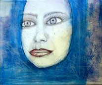 Malerei, Skizze, Blau, Gesicht