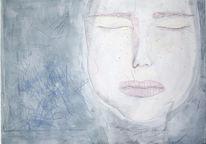 Skizze, Portrait, Weiß, Blau