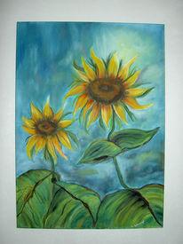 Blumen, Sonnenblumen, Malerei, Stillleben