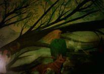 Nacht, Vollmond, Wald, Mädchen