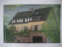 Haus, Hügel, Birken, Vorgarten