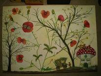 Aquarellmalerei, Mohnblumen, Garten, Zauber
