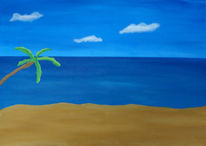 Acrylmalerei, Blau, Landschaft, Meer