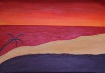 Meer, Rot, Surreal, Acrylmalerei