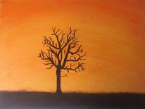 Winter, Landschaft, Sonnenaufgang, Acrylmalerei