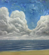 Wasser, Wolken, Maritim, Gemälde