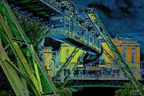 Digital art, Nacht, Verkehr, Elberfeld