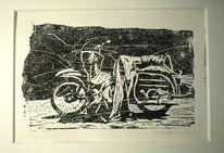 Moped, Holzschnitt, Druck, Motorrad