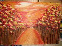 Weg, Rot, Orange, Wald