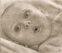Studie, Portrait, Übungsarbeit, Zeichnung