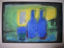 Stillleben, Pastellmalerei, Flasche, Blau