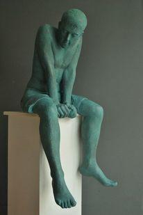 Gipsfigur, Skulptur, Sitzen, Figürliche bildhauerei