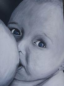Brust, Augen, Acrylmalerei, Baby
