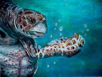 Meer, Braun, Acrylmalerei, Schildkröte