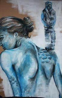 Wirbelsäule, Blau, Knochen, Dünn